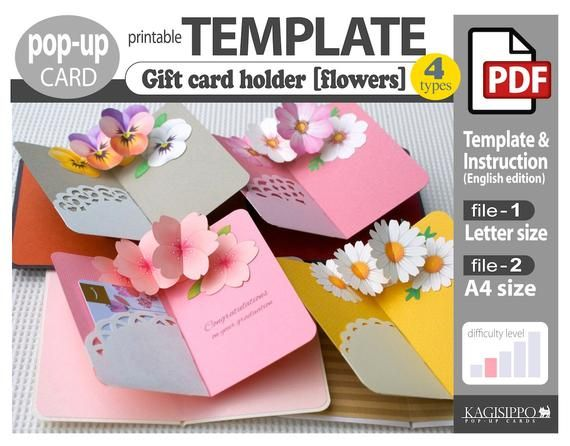Template Gift Card Holder Flowers Pop Up Card Pdf Digital Download File Gift Card Holder Card Patterns Paper Flower Backdrop Diy