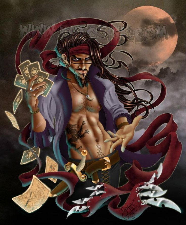 Fortune Favors the Souled by SpikeJones67 Spike Jones Kris Masterson gypsy fortune teller seer talith tarot long hair male man guy dude shirtless sexy hot pinup digital art illustration drawing fantasy jeriko oc original character