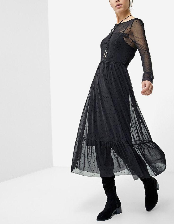 Длинное платье из прозрачной ткани