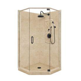 American Bath Factory�Panel 86-in H x 42-in W x 42-in L Medium Neo-Angle Corner Shower Kit