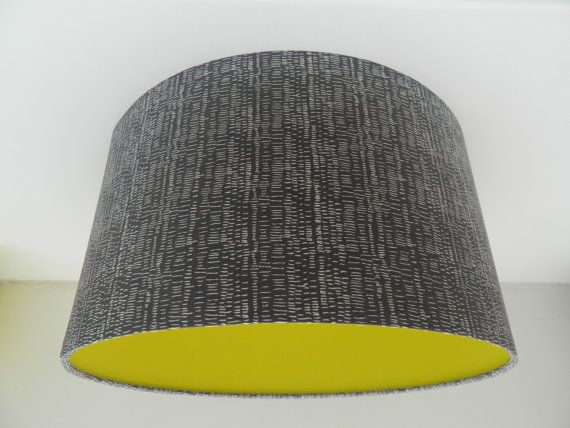 Scandi 'Scratchy Marks' Fabric Lampshade With a POP of Acid Yellow on Etsy, £20.00