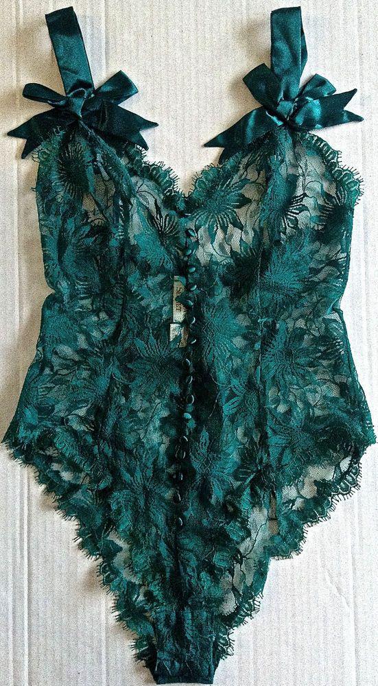 Victorias Secret Sheer Lace Satin Teddy Lingerie Bodysuit Zipper Back Size M #VictoriasSecret                                                                                                                                                                                 Más