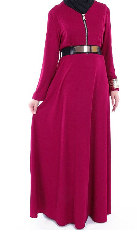 Maxi Gold Belted Zipper Abaya Dress – Rashida Amin - Islamic Clothing, Abaya, Jilbabs, Hijabs