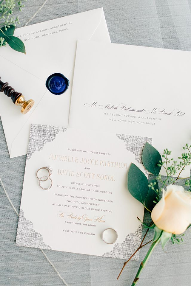 Elegant and Classic Navy Wedding Invitations 900