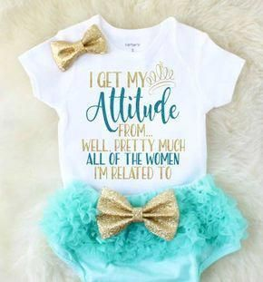 ecf5a1095ccb Baby girl clothes – i get my attitude from shirt – baby shower gift – baby