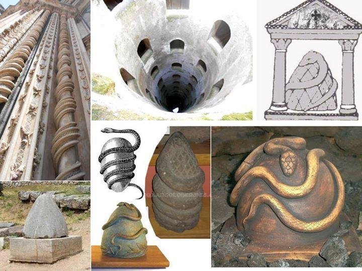 In alto a sx foto di alcune colonne del duomo di Orvieto. In alto al centro foto del pozzo di San patrizio sempre ad Orvieto. In basso a sx il CIPPO del centro oracolare di Delfi (Grecia). Tutti gli altri sono rappresentazioni del uovo e del serpente cosmico orfico.