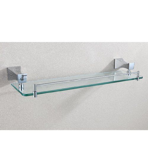 Angle Simple GA7204 Single Layer Rectangular Bathroom Glass Shelf, Chrome  Angle Simple Http: