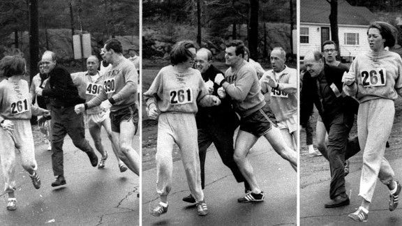 Forty-five years ago, Switzer ran the Boston Marathon for the first time and tried to keep a low profile. When officials noticed a woman in the race, they launched an ugly attack -- which today is one of the most famous moments in the race's 115-year history -- to get her off the course.  In this series of images, race director Jock Semple tried to rip Kathrine Switzer's race number off at the 1967 Boston Marathon.