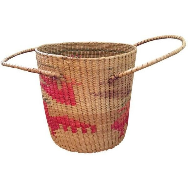 Large Southwestern Woven Basket With Handles (455 CAD) ❤ liked on Polyvore featuring home, home decor, small item storage, baskets & boxes, pink home decor, woven baskets, southwestern home decor, pink basket and turquoise home decor
