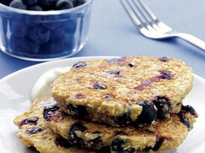 Fat-Burning Recipe: Blueberry Oat Pancakes with Maple Yogurt | With some smart swaps and wholesome ingredients, this pancake recipes is actually good for you.