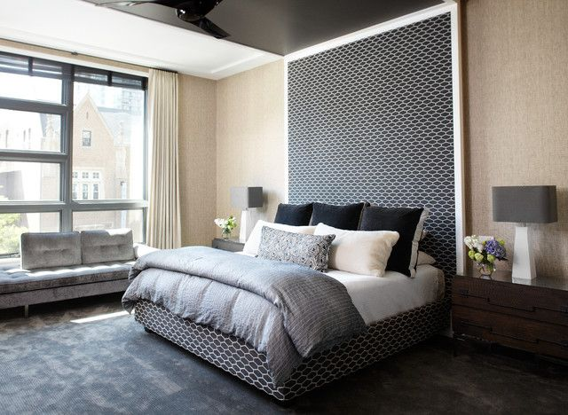 Statement headboard/wall with luxury and comfort in mind.  Deep window adapted into seating. Apartment in Edgbaston Birmingham