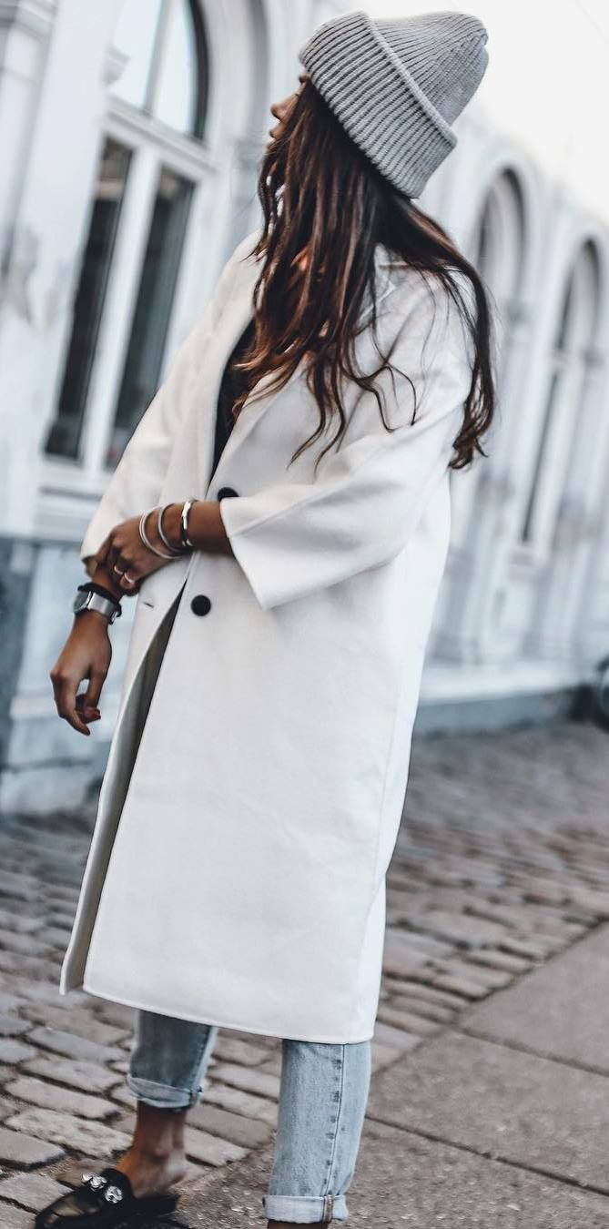 fall casual style / hat + coat + jeans + loafers