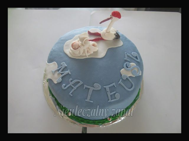 Cake with a stork and baby,tort na chrzest