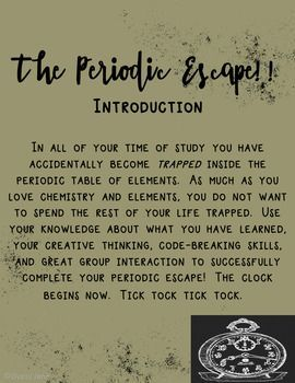 escape the room periodic table
