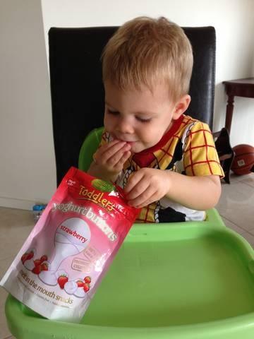 Mister Kaden couldn't get enough of the Rafferty's Garden Yoghurt Buttons    #RaffertysGarden #YoghurtButtons