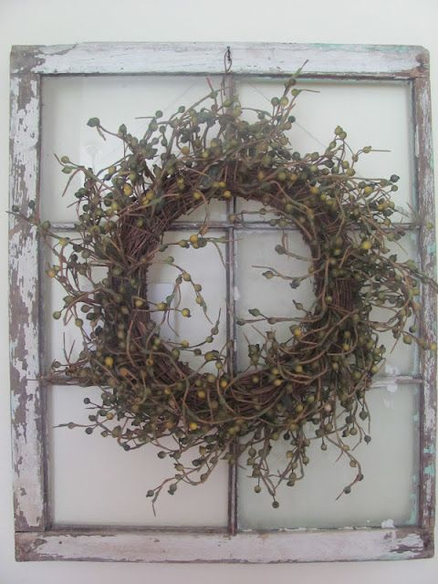 diy wreath on a reclaimed window (no window panes)