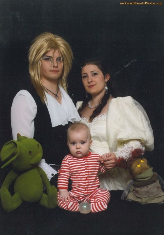 From Awkward Family Photos - homage to Labyrinth. #bowie #henson #muppets this is awesome and awful all at the same time!