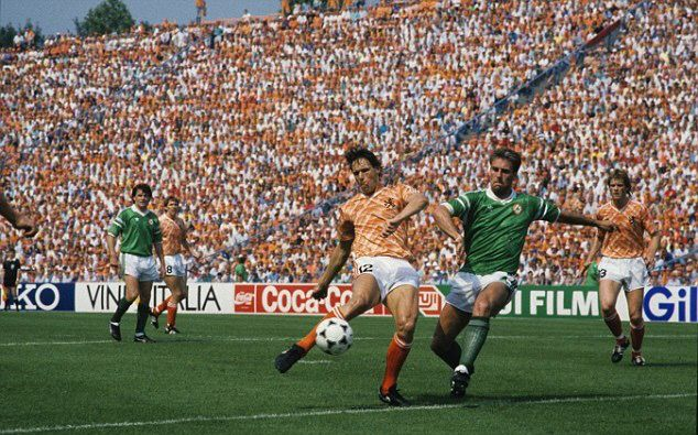 Holland 1 Rep of Ireland 0 in 1988 in Gelsenkirchen. Marco Van Basten shoots for goal in Group C at Euro '88.