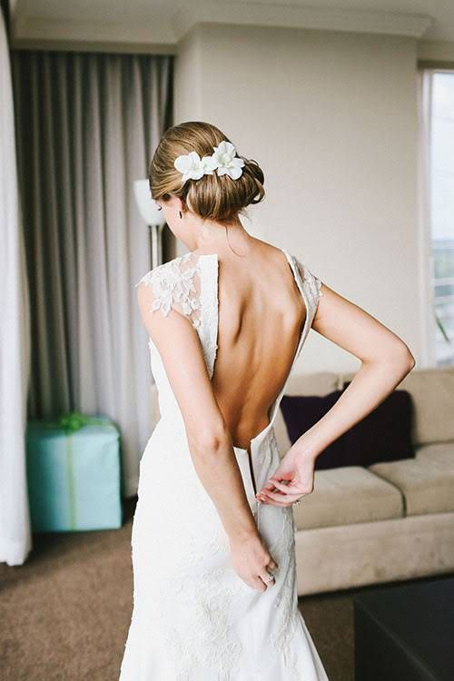 Industrial Atlanta, Georgia Wedding, Blythe and Ford, Open-Back Wedding Dress Detail