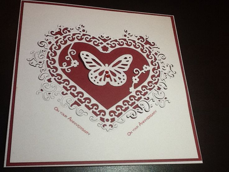 Anniversary card. Tattered lace heart interlocking die 'celebrate', Martha Stewart butterfly punch and sentiment from Anna Marie Designs set.