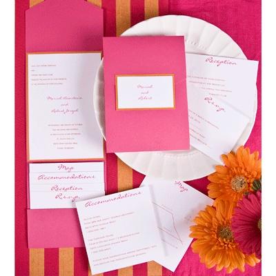 The Purple Mermaid Hot Pink And Orange Pocket Wedding Invitations