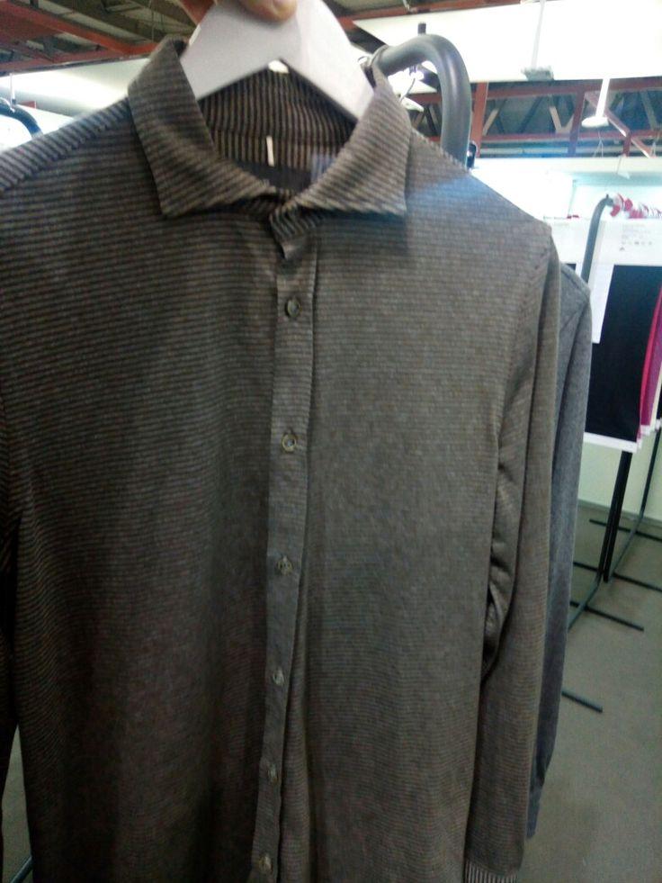 Shirt made in a cut and sew wool knitt.