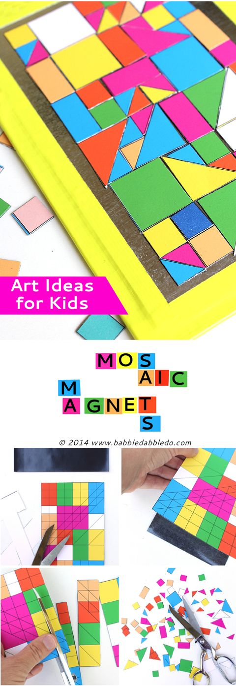 EASY ART IDEAS FOR KIDS: Make geometric mosaic magnets. FREE printable and magnetic sheets. Bonus: a MINECRAFT version! #preschool #education #efl (repinned by Super Simple Songs)