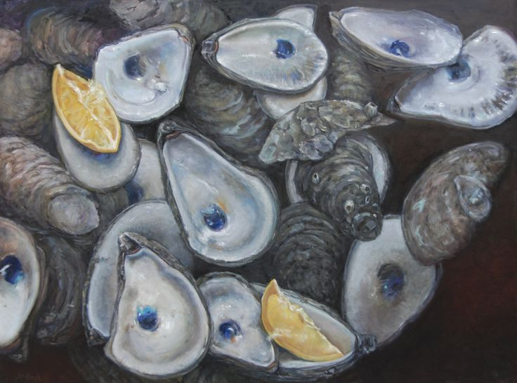 """Life is Like a Bushel of Oysters,"" oil, 36x48, Michel McNinch"