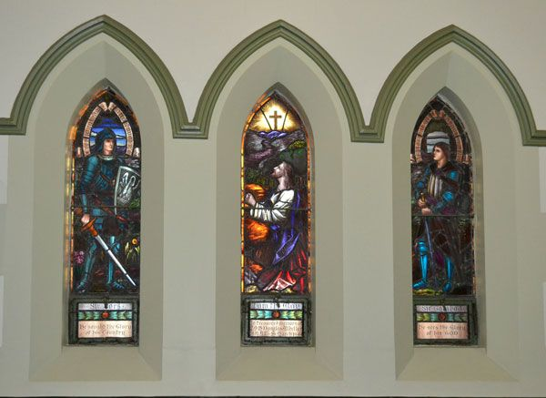 Knights featuring in our stained glass windows at Albert Street Uniting Church. Come and visit to find out the full story behind using them in our windows.