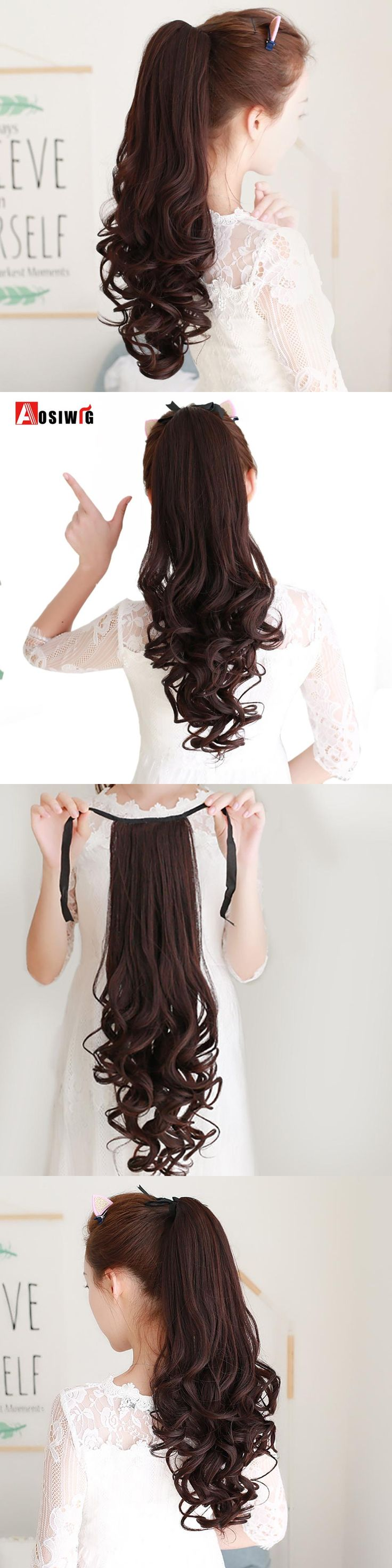 AOSIWIG  22'' Long Curly Ponytail Hair Pieces Clip In Fake Hair Extensions Long Curly Hair Tails Clip Flip Ponytail Hairstyles