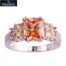FREEWILL Wholesale Cocktail Rings Emerald Cut Morganite Silver Ring Size 10 Fashion Women Men Jewelry For Party