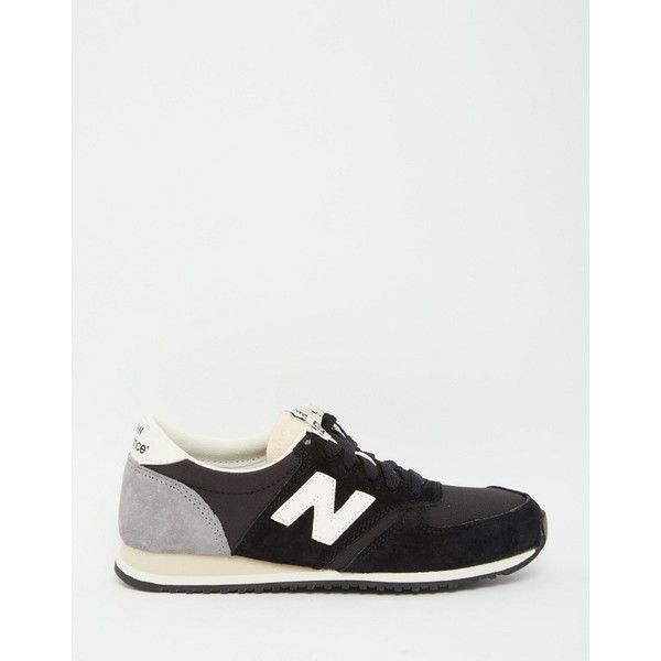 New Balance Black Suede 420 Trainers (4.865 RUB) via Polyvore featuring shoes, sneakers, suede shoes, suede low top sneakers, arch support shoes, black low top shoes и black low tops