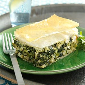 Phyllo dough serves as the crust for this one-dish casserole that's a new spin on chicken pie. Stuffed with ground chicken, spinach, feta cheese, eggs, and a host of spices, this recipe is too good to pass by.