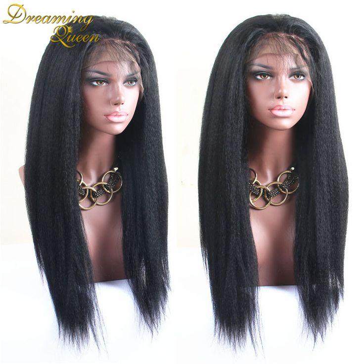 8A Best Italian Yaki Wig African American Full Lace Human Hair Wigs Best Glueless Brazilian Virgin Kinky Straight Lace Front Wig