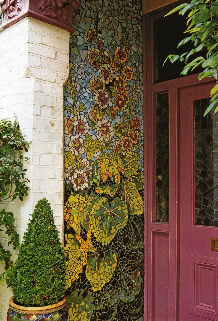 """Hollyhock mosaic.  Would be great as part of the """"airlock"""" entrance."""