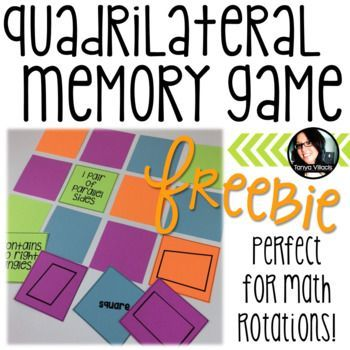 This freebie includes cards which can be used to play quadrilateral memory. I suggest having students complete this activity in groups of 3-4 people. Because of the hierarchy of quadrilaterals, cards can match more than one card, so the outcome of the game can vary and all cards might not be used.