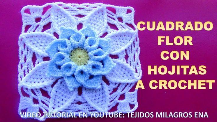 Cuadrado Flor a crochet con hojitas PASO A PASO EN VIDEO TUTORIAL