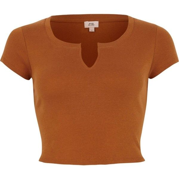 Brown notch front cropped T-shirt ($21) ❤ liked on Polyvore featuring tops, t-shirts, shirts, brown crop top, short sleeve tops, cotton tees, brown top and fitted tee