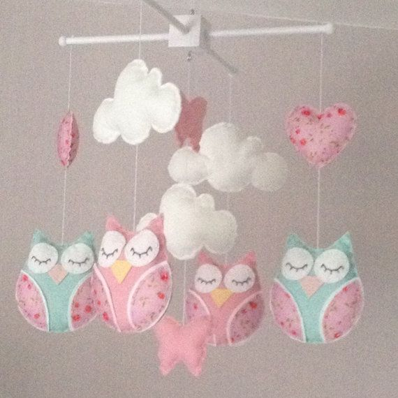 Baby mobile Cot mobile Owl Mobile Cloud Mobile от EllaandBoo