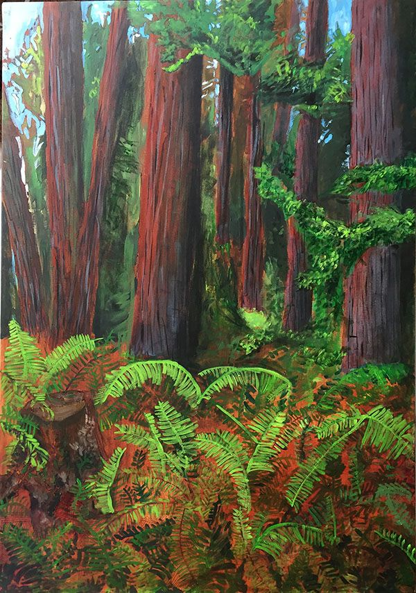 "This Acrylic Painting is called Cedar Giants and is part of my Old Growth Forest Series. Its 18"" x 24"" and is available for $800 CDN"