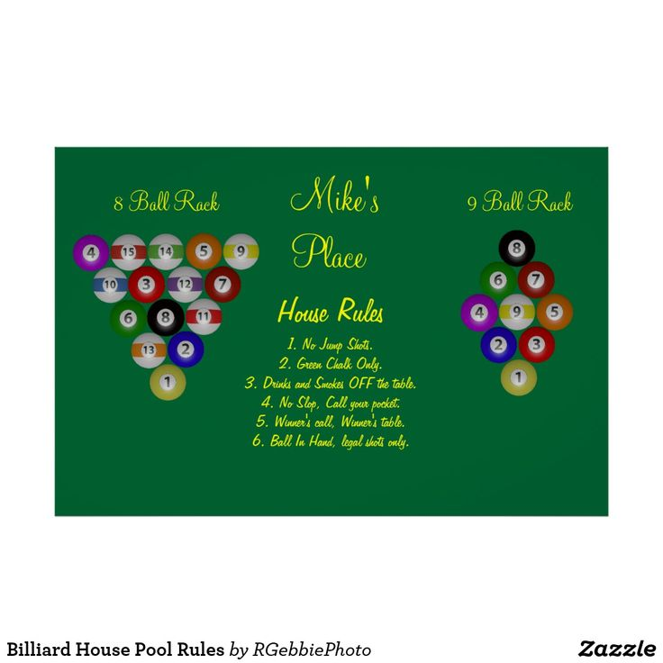 Billiard House Pool Rules Poster $88.45 The perfect poster for your man-cave! Examples of 8 ball and 9 ball racks, with House Rules. APA, UPA, BCA league rules, or your own. Your friends will appreciate the racking tips! Billiard balls in 3D illustration. Set on a field of pool table green with bright yellow lettering. Perfect compliment to any game room! Visit our store for more of our Billiards and Pool Shark designs!