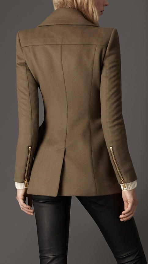 Burberry - Oversize Pocket Pea Coat in Pebble
