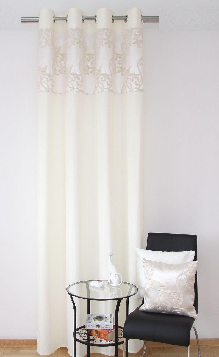 Kremowe gotowe luksusowe zasłony z beżowym ornamentem
