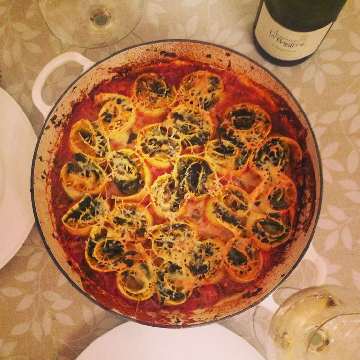 Jamie Oliver's butternut squash and spinach rotolo recipe | I used two cans of Contadina tomato sauce.