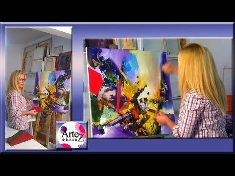 Como hacer collage sobre pintura en bastidor - YouTube                                                                                                                                                      Más