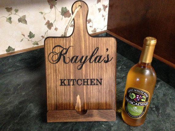 IPad Stand, Cookbook Stand, Dark Walnut Finish, Cutting Board Style, Kitchen  IPad Stand, Wooden Cookbook Holder