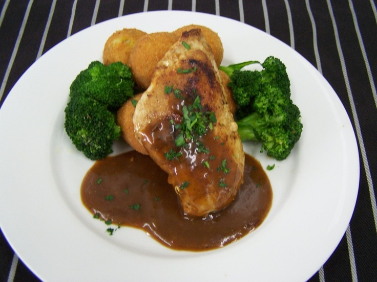 Chicken Breast served with Broccoli and fried Risotto Balls