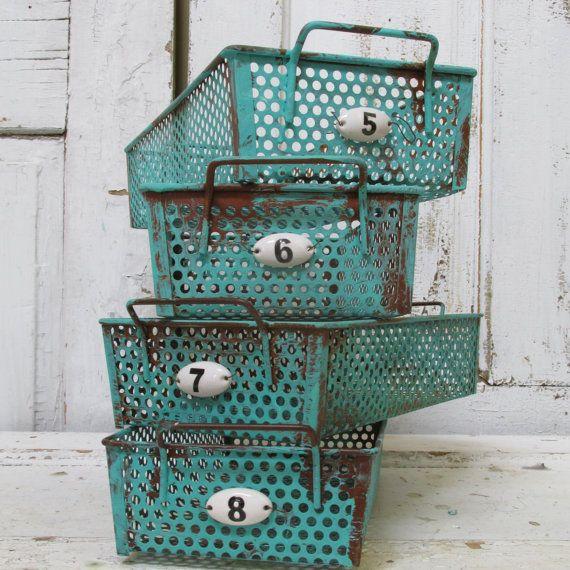 Distressed metal basket grouping embellished by AnitaSperoDesign, $110.00