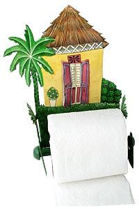 Toilet Paper Holder Metal Art Caribbean House Bathroom Decor Bathroom Toilet Tissue Holder Tropical Decor Metal Art K7074 Tp Yl