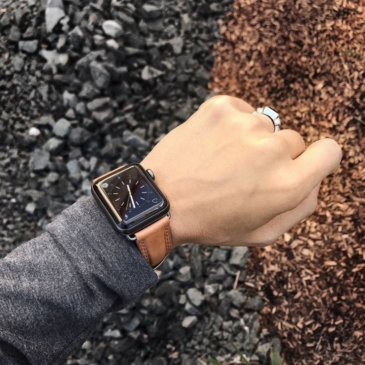 "Wrist shot of our Bas and Lokes ""Beaumont"" natural handcrafted leather watch strap paired with the space grey Apple Watch. Strap available for purchase at www.basandlokes.com"